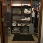the walk in closet of the airbnb